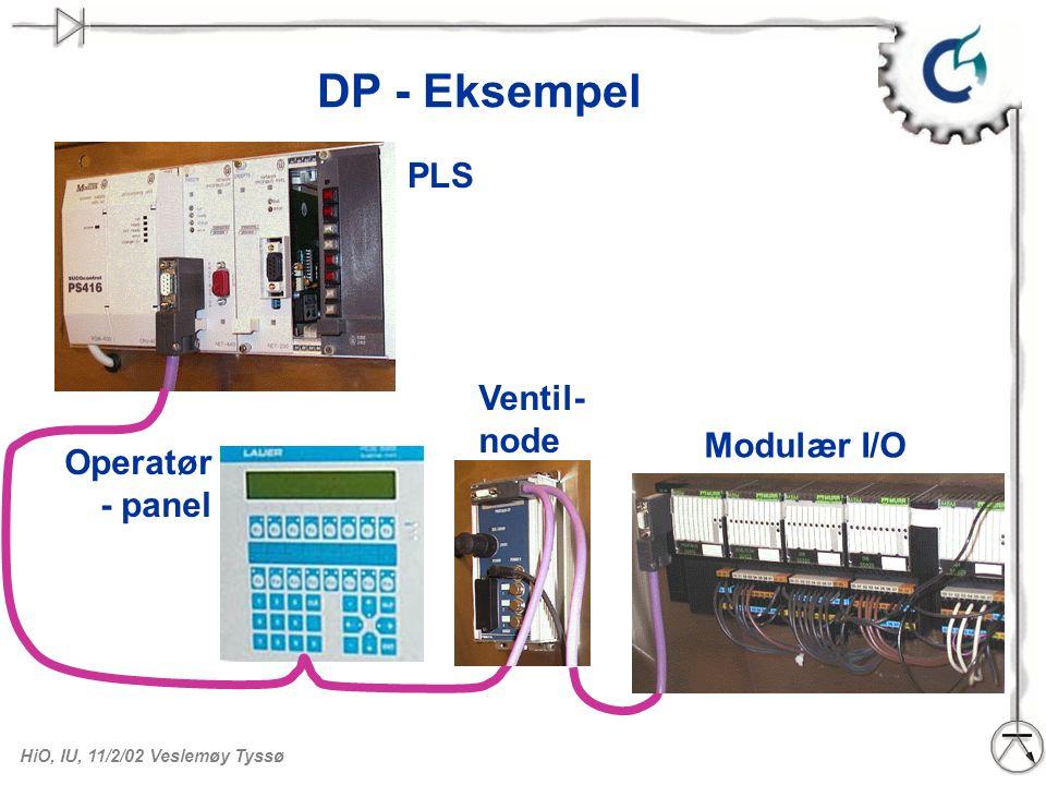 HiO, IU, 11/2/02 Veslemøy Tyssø DP - Eksempel PLS Operatør - panel Ventil- node Modulær I/O
