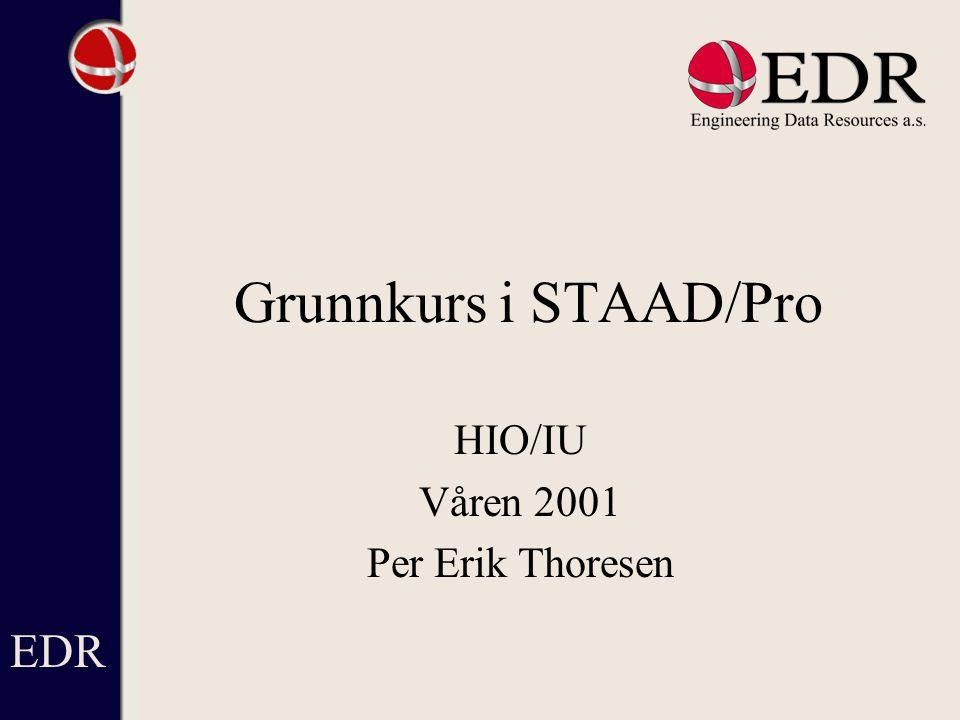 Innhold - Introduksjon - Presentasjon av STAAD/Pro - Presentasjon av STAAD/Pro, Modellering - Presentasjon av STAAD /Pro, Analyse - Presentasjon av STAAD /Pro, Resultater - Presentasjon av STAAD /Pro, NS3472 EDR
