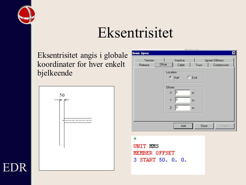Eksentrisitet Eksentrisitet angis i globale koordinater for hver enkelt bjelkeende EDR