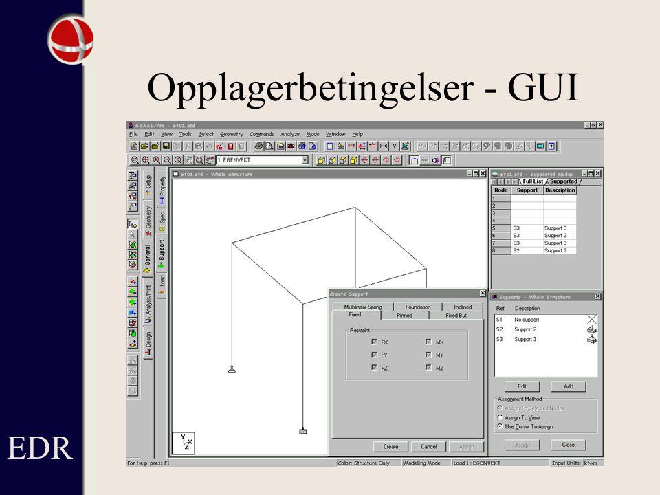 Opplagerbetingelser - GUI EDR