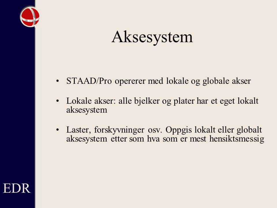 Aksesystem STAAD/Pro opererer med lokale og globale akser Lokale akser: alle bjelker og plater har et eget lokalt aksesystem Laster, forskyvninger osv.
