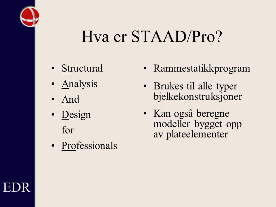 Hva gjør STAAD/Pro.