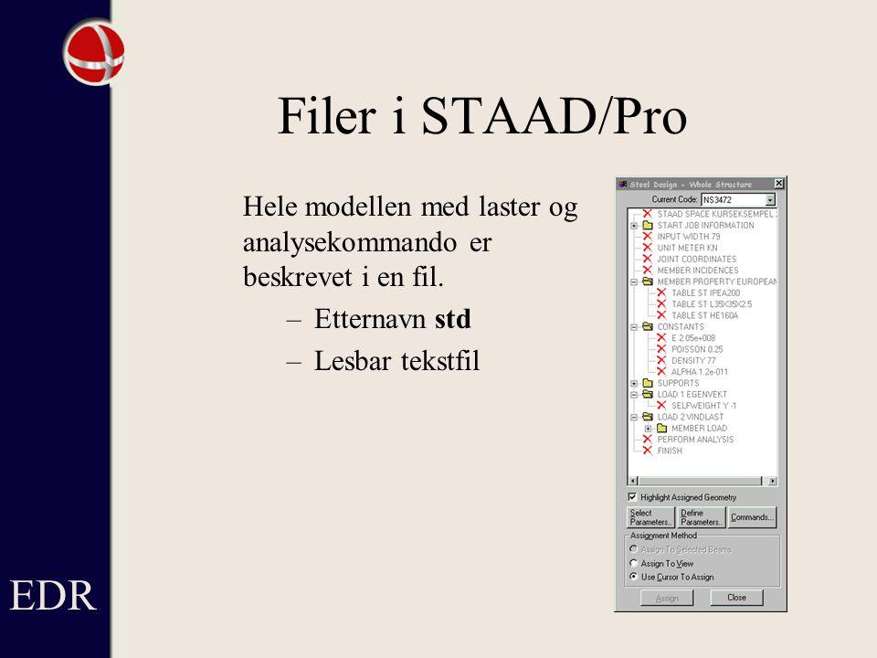 Filer i STAAD/Pro Hele modellen med laster og analysekommando er beskrevet i en fil.