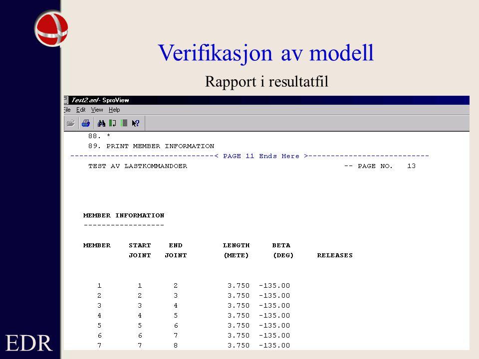 EDR Verifikasjon av modell Rapport i resultatfil