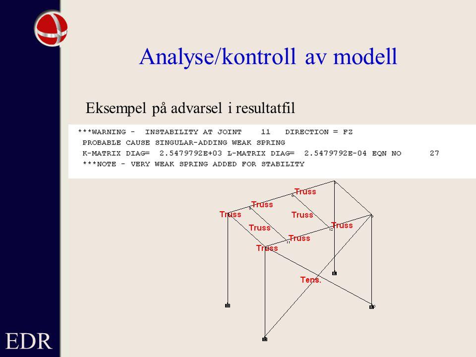 EDR Analyse/kontroll av modell Eksempel på advarsel i resultatfil