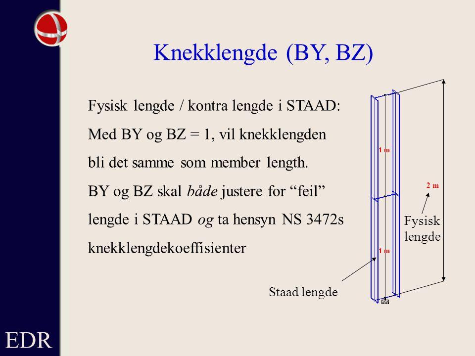 EDR Knekklengde (BY, BZ) Fysisk lengde / kontra lengde i STAAD: Med BY og BZ = 1, vil knekklengden bli det samme som member length.