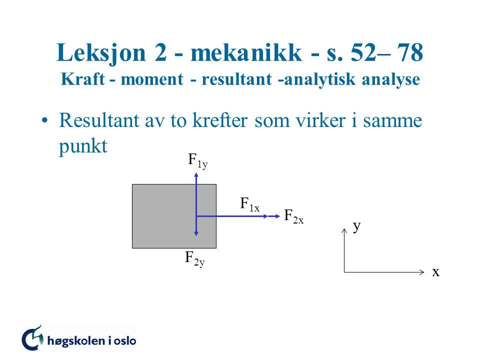 Leksjon 2 - mekanikk - s. 52– 78 Kraft - moment - resultant -analytisk analyse Resultant av to krefter som virker i samme punkt x y F 1y F 2y F 1x F 2