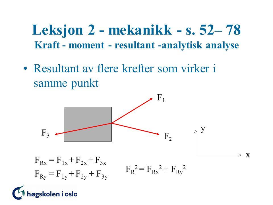 Leksjon 2 - mekanikk - s. 52– 78 Kraft - moment - resultant -analytisk analyse Resultant av flere krefter som virker i samme punkt x y F1F1 F2F2 F3F3