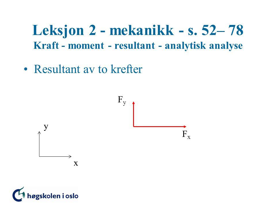 Leksjon 2 - mekanikk - s. 52– 78 Kraft - moment - resultant - analytisk analyse Resultant av to krefter FxFx FyFy x y