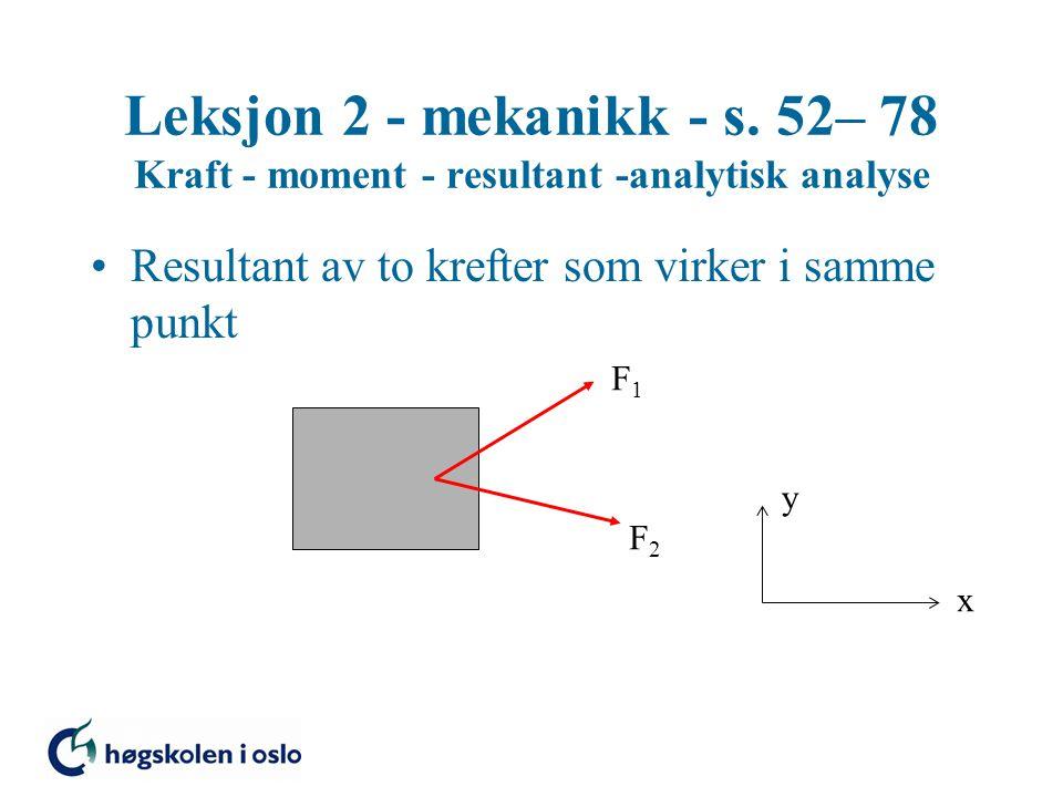 Leksjon 2 - mekanikk - s. 52– 78 Kraft - moment - resultant -analytisk analyse Resultant av to krefter som virker i samme punkt x y F1F1 F2F2