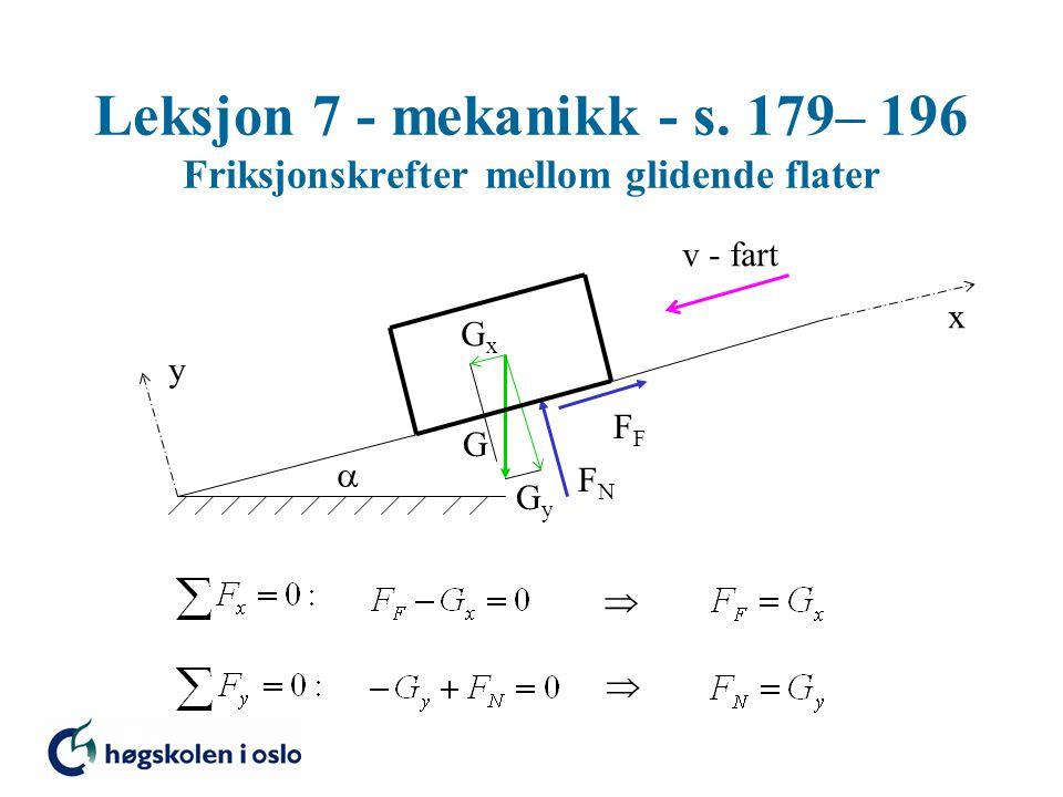 Leksjon 7 - mekanikk - s. 179– 196 Friksjonskrefter mellom glidende flater G FNFN F  y x GxGx GyGy v - fart  