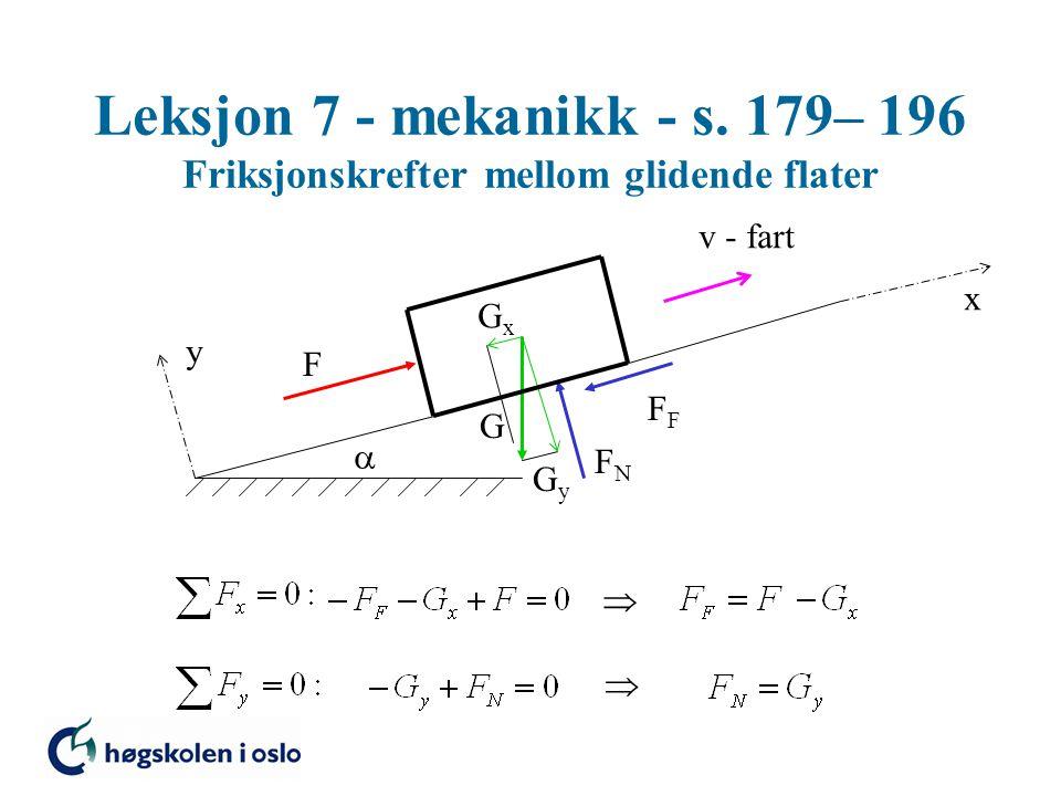 Leksjon 7 - mekanikk - s. 179– 196 Friksjonskrefter mellom glidende flater G FNFN F  y x GxGx GyGy F v - fart  