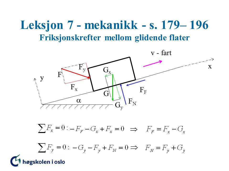 Leksjon 7 - mekanikk - s. 179– 196 Friksjonskrefter mellom glidende flater G FNFN F  y x GxGx GyGy F FxFx FyFy v - fart  