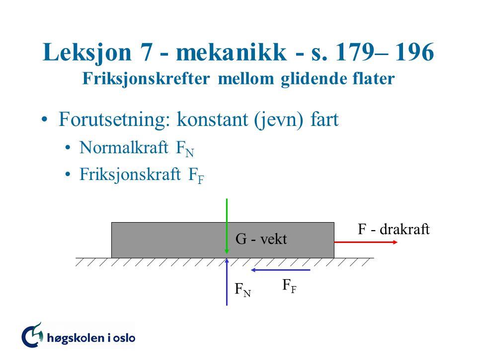 Leksjon 7 - mekanikk - s. 179– 196 Friksjonskrefter mellom glidende flater Forutsetning: konstant (jevn) fart Normalkraft F N Friksjonskraft F F G - v