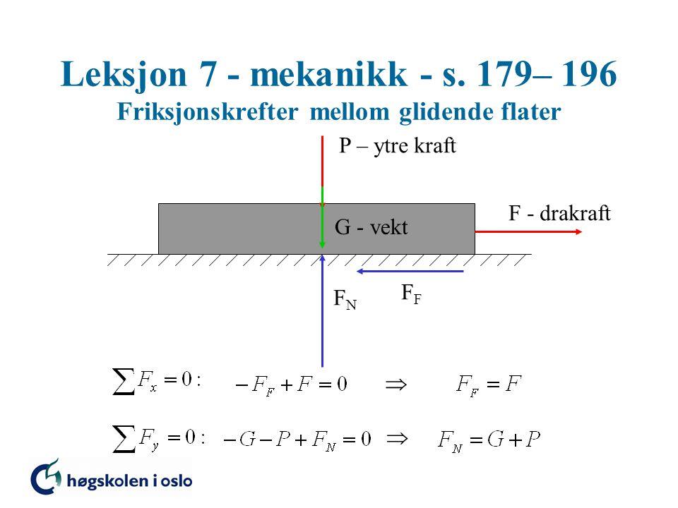 Leksjon 7 - mekanikk - s. 179– 196 Friksjonskrefter mellom glidende flater G - vekt FNFN P – ytre kraft F - drakraft F  