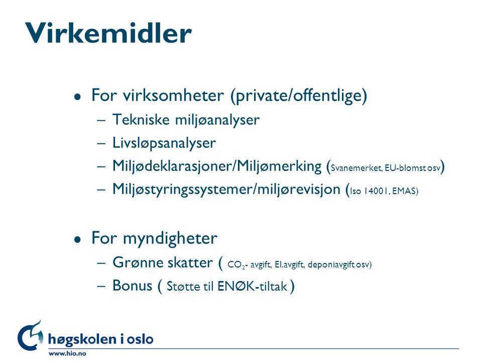 Virkemidler l For virksomheter (private/offentlige) –Tekniske miljøanalyser –Livsløpsanalyser –Miljødeklarasjoner/Miljømerking ( Svanemerket, EU-bloms