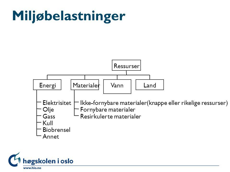 Miljøbelastninger Elektrisitet Olje Gass Kull Biobrensel Annet Ikke-fornybare materialer(knappe eller rikelige ressurser) Fornybare materialer Resirku