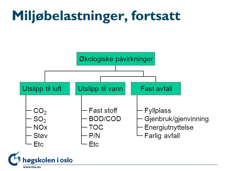 Miljøbelastninger, fortsatt CO 2 SO 2 NOx Støv Etc Utslipp til luft Fast stoff BOD/COD TOC P/N Etc Utslipp til vann Fyllplass Gjenbruk/gjenvinning Ene