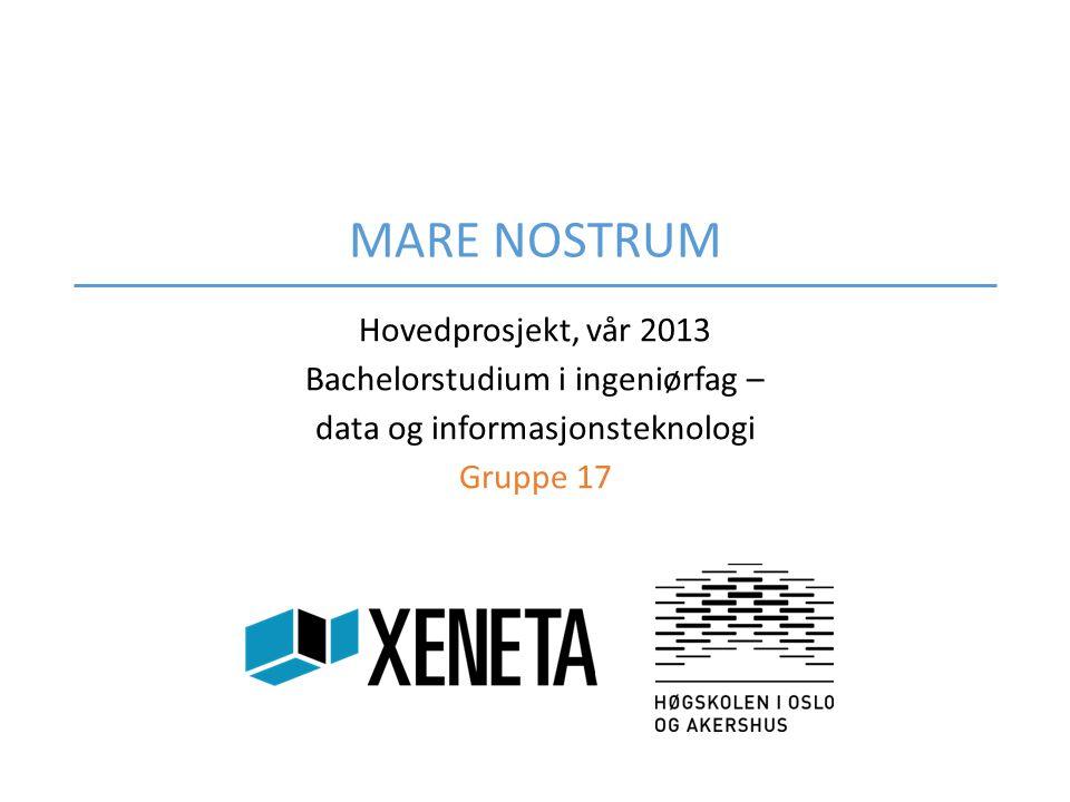 MARE NOSTRUM Hovedprosjekt, vår 2013 Bachelorstudium i ingeniørfag – data og informasjonsteknologi Gruppe 17