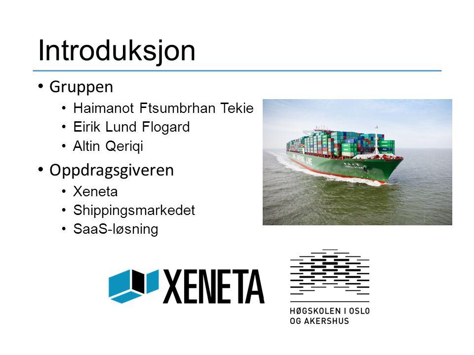 Introduksjon Gruppen Haimanot Ftsumbrhan Tekie Eirik Lund Flogard Altin Qeriqi Oppdragsgiveren Xeneta Shippingsmarkedet SaaS-løsning