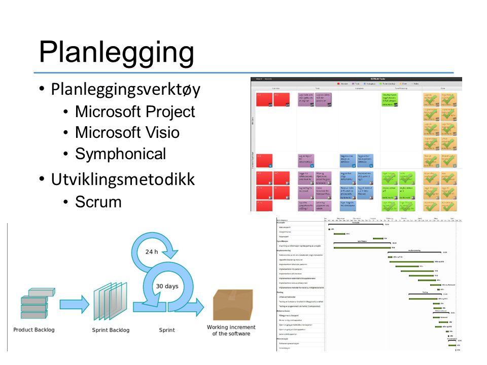 Planlegging Planleggingsverktøy Microsoft Project Microsoft Visio Symphonical Utviklingsmetodikk Scrum