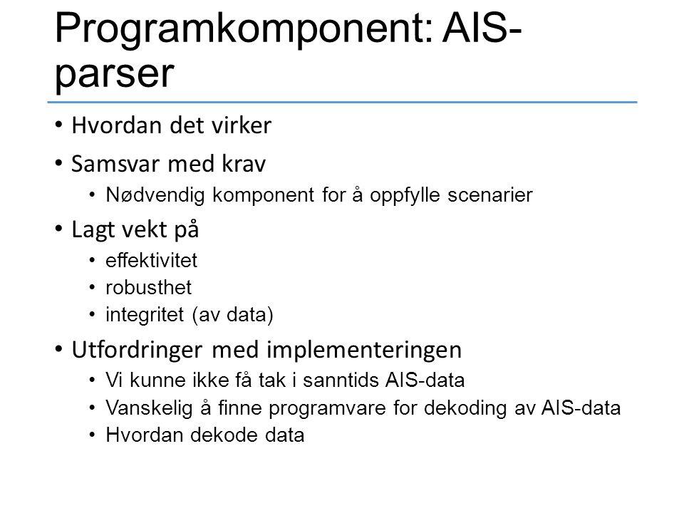Programkomponent: AIS- parser Hvordan det virker Samsvar med krav Nødvendig komponent for å oppfylle scenarier Lagt vekt på effektivitet robusthet int