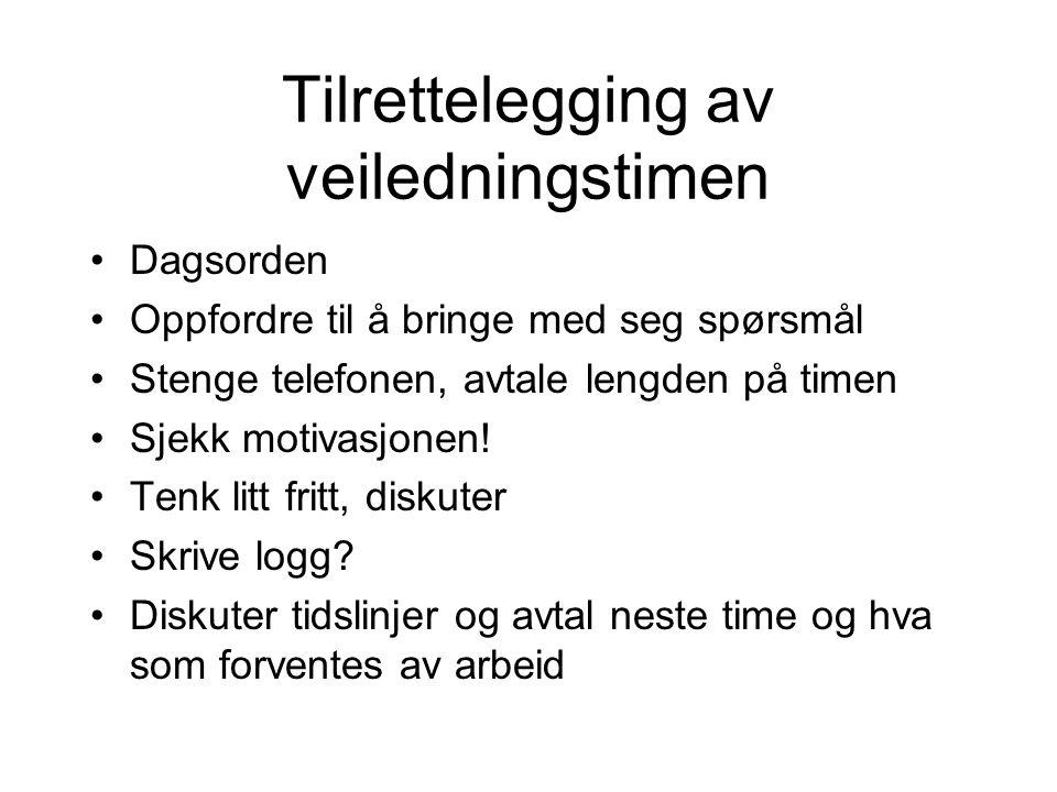 Roller Veileder Rådgiver Motivator Lærer Eksaminator Akademisk guide Mentor Venn Kollega