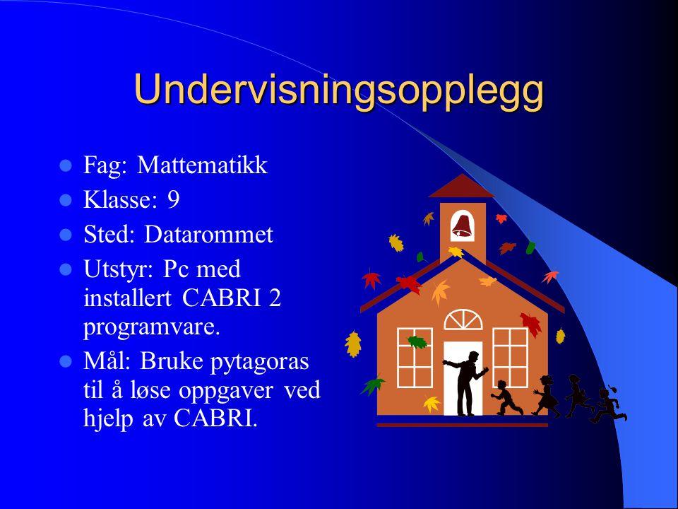 Undervisningsopplegg Fag: Mattematikk Klasse: 9 Sted: Datarommet Utstyr: Pc med installert CABRI 2 programvare. Mål: Bruke pytagoras til å løse oppgav