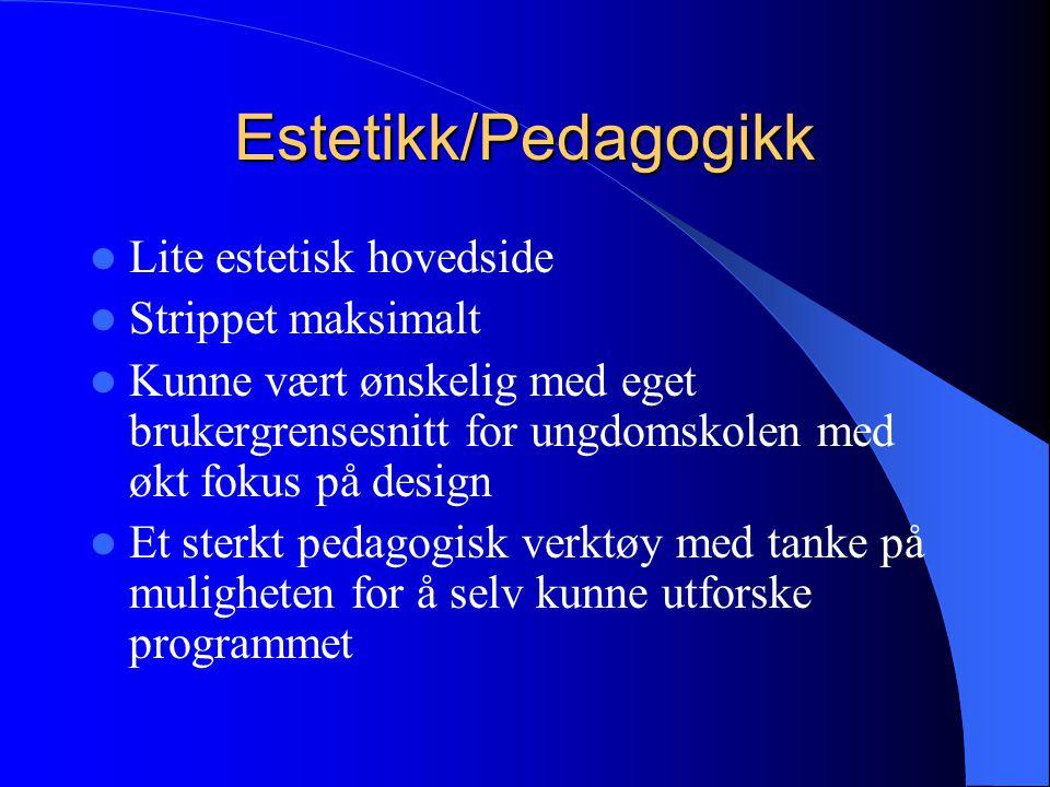 Estetikk/Pedagogikk Lite estetisk hovedside Strippet maksimalt Kunne vært ønskelig med eget brukergrensesnitt for ungdomskolen med økt fokus på design Et sterkt pedagogisk verktøy med tanke på muligheten for å selv kunne utforske programmet