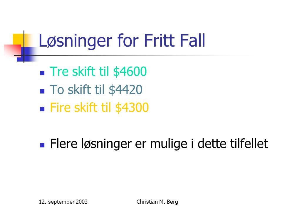 12. september 2003Christian M. Berg Grådig søk med og uten tabu
