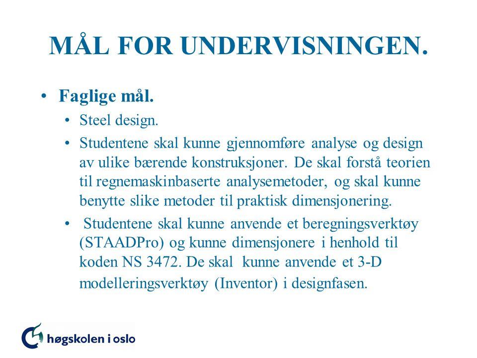 MÅL FOR UNDERVISNINGEN. Faglige mål. Steel design.
