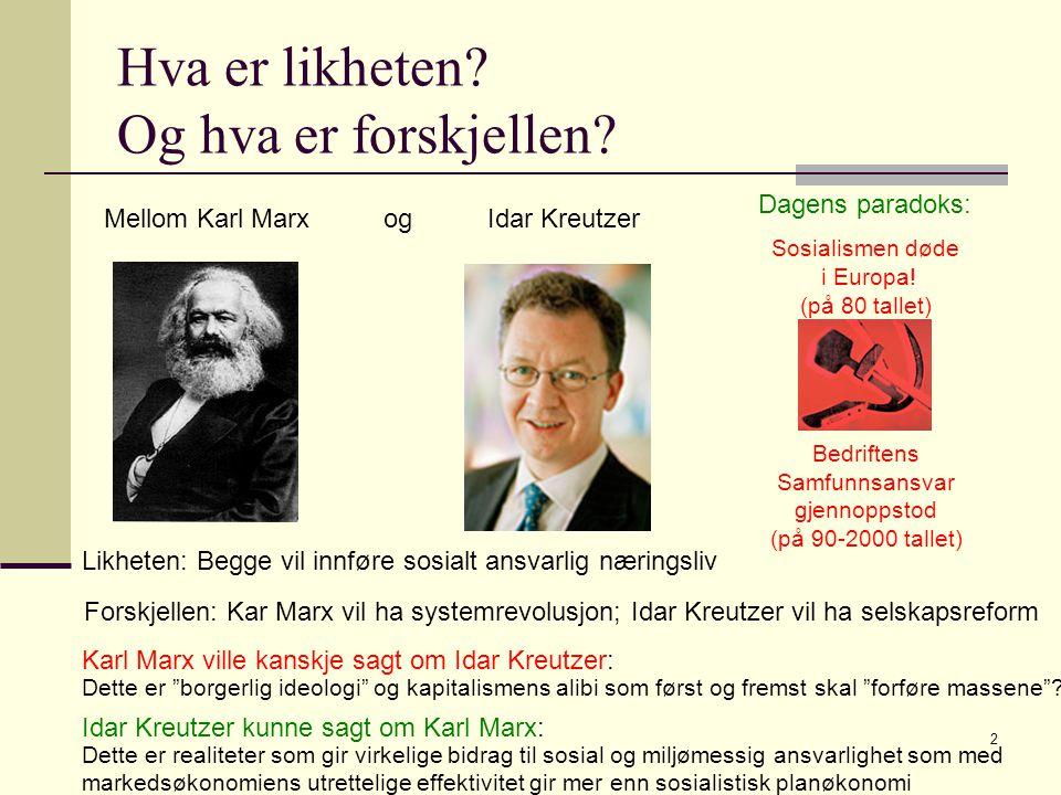 2 Hva er likheten. Og hva er forskjellen. Sosialismen døde i Europa.