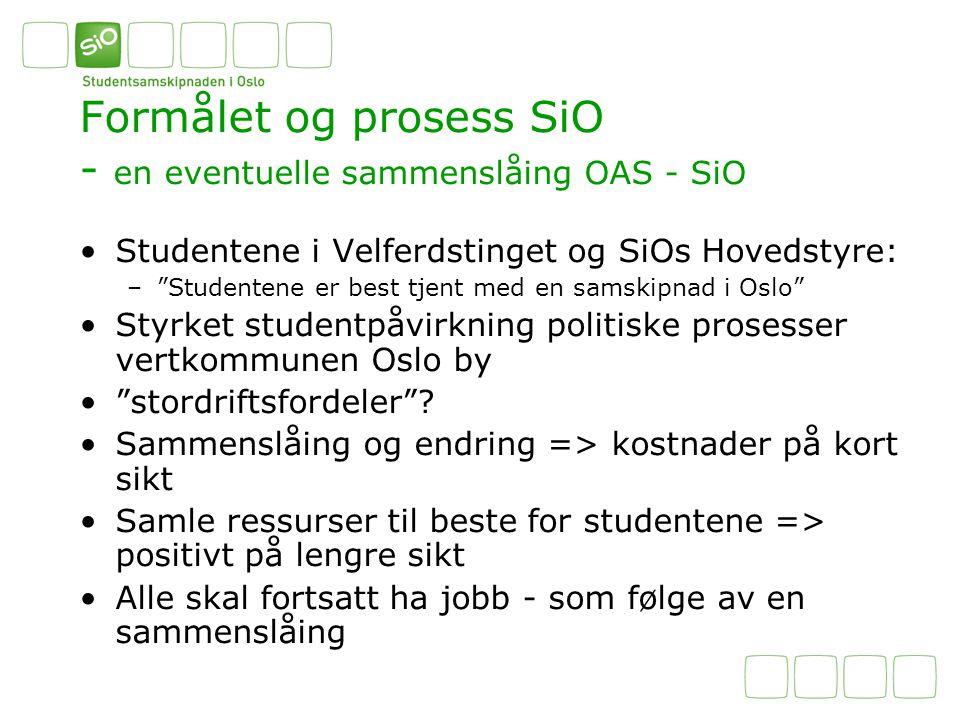 """Formålet og prosess SiO - en eventuelle sammenslåing OAS - SiO Studentene i Velferdstinget og SiOs Hovedstyre: –""""Studentene er best tjent med en samsk"""