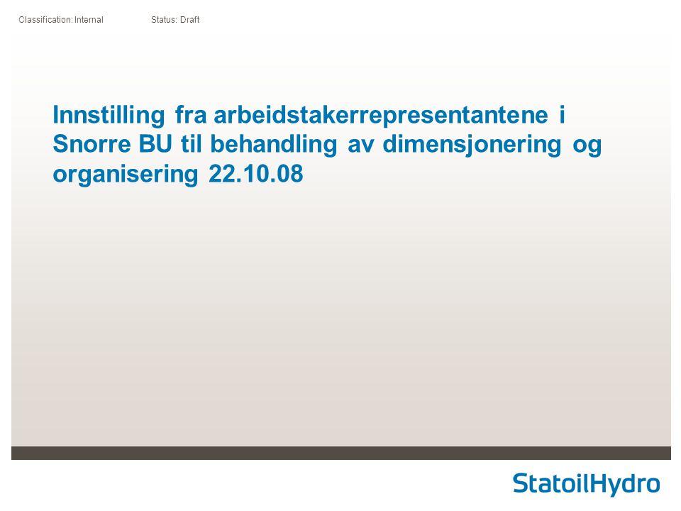 Classification: Internal Status: Draft Innstilling fra arbeidstakerrepresentantene i Snorre BU til behandling av dimensjonering og organisering 22.10.08