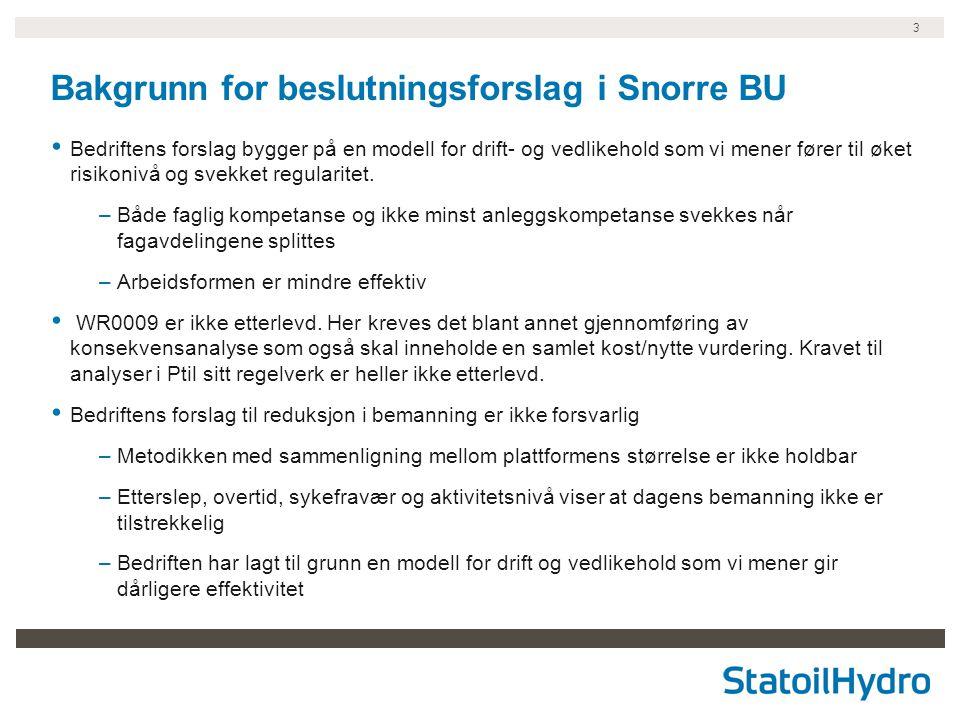 3 Bakgrunn for beslutningsforslag i Snorre BU Bedriftens forslag bygger på en modell for drift- og vedlikehold som vi mener fører til øket risikonivå og svekket regularitet.