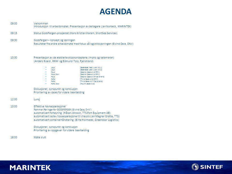 AGENDA 09:00Velkommen Introduksjon til arbeidsmøtet. Presentasjon av deltagere (Jan Norbeck, MARINTEK) 09:15 Status GodsFergen-prosjektet (Hans Kristi