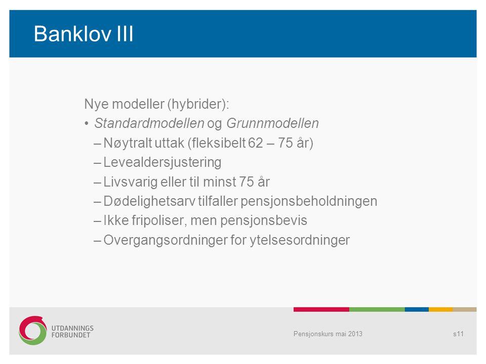 Banklov III Nye modeller (hybrider): Standardmodellen og Grunnmodellen –Nøytralt uttak (fleksibelt 62 – 75 år) –Levealdersjustering –Livsvarig eller t