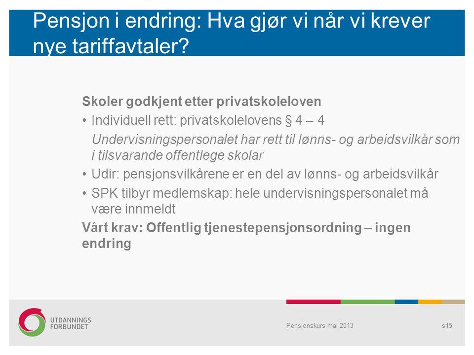 Pensjon i endring: Hva gjør vi når vi krever nye tariffavtaler? Skoler godkjent etter privatskoleloven Individuell rett: privatskolelovens § 4 – 4 Und