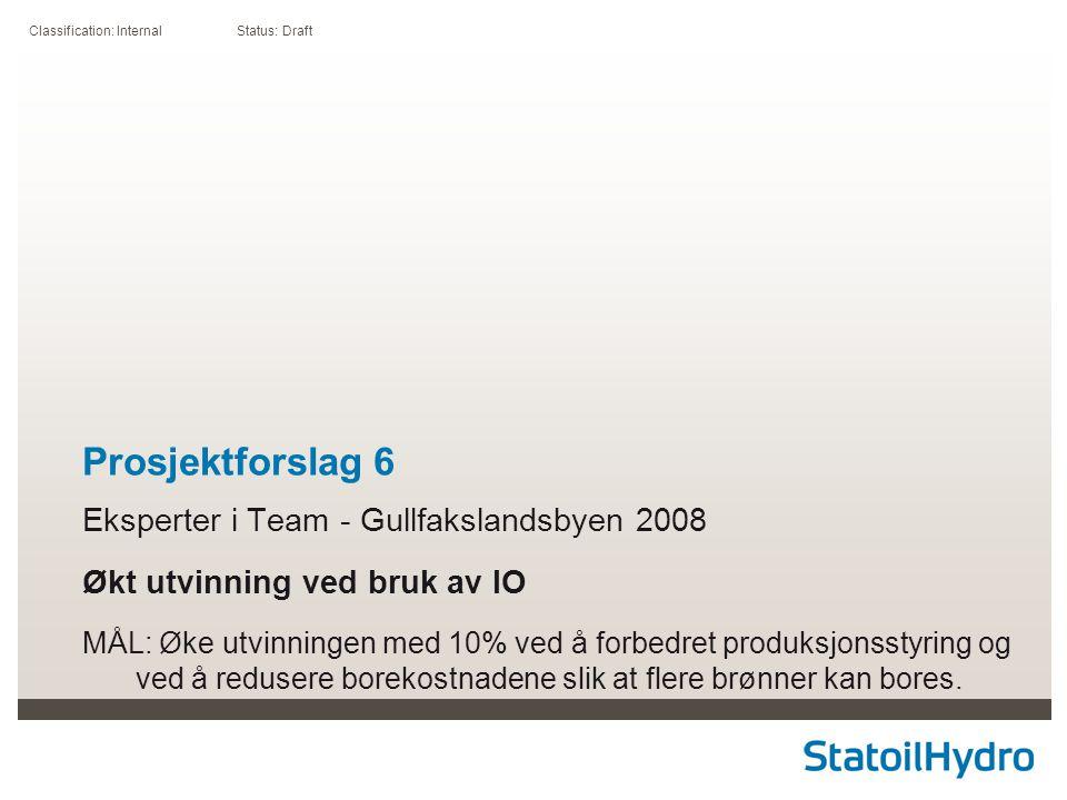 Classification: Internal Status: Draft Prosjektforslag 6 Eksperter i Team - Gullfakslandsbyen 2008 Økt utvinning ved bruk av IO MÅL: Øke utvinningen m