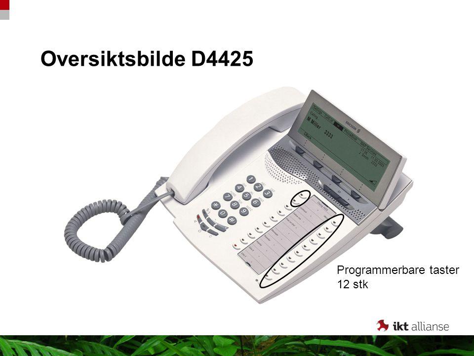 Oversiktsbilde D4425 Meny Navnesøk Viderekobling Melding Overføre Spørreanrop Linje 1 Linje 2