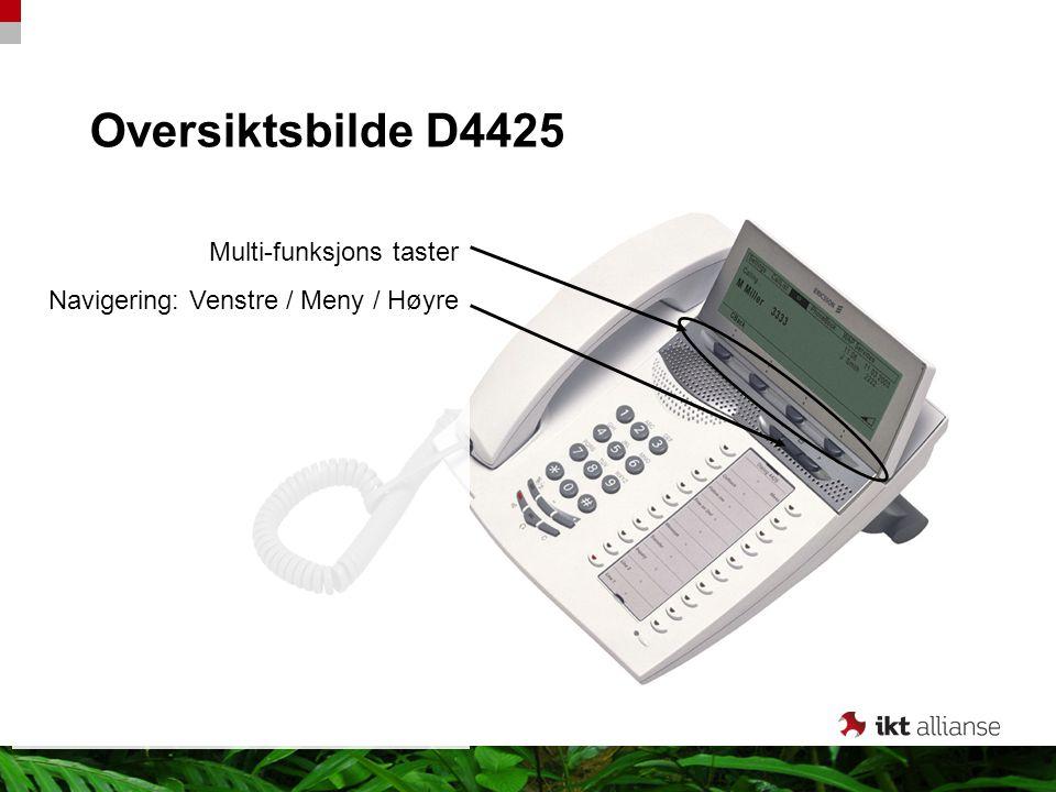 Oversiktsbilde D4425 Multi-funksjons taster Navigering: Venstre / Meny / Høyre
