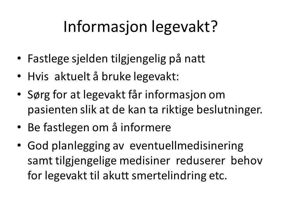 Informasjon legevakt.