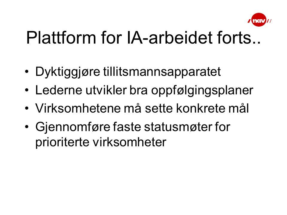 Plattform for IA-arbeidet forts..
