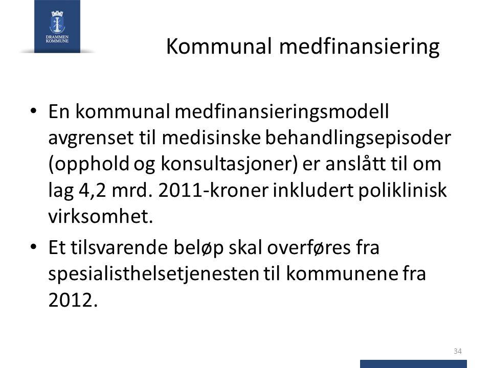 Kommunal medfinansiering En kommunal medfinansieringsmodell avgrenset til medisinske behandlingsepisoder (opphold og konsultasjoner) er anslått til om