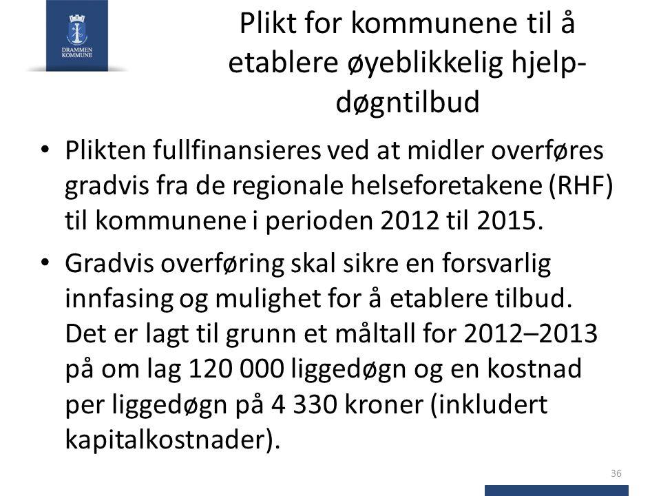 Plikt for kommunene til å etablere øyeblikkelig hjelp- døgntilbud Plikten fullfinansieres ved at midler overføres gradvis fra de regionale helseforeta
