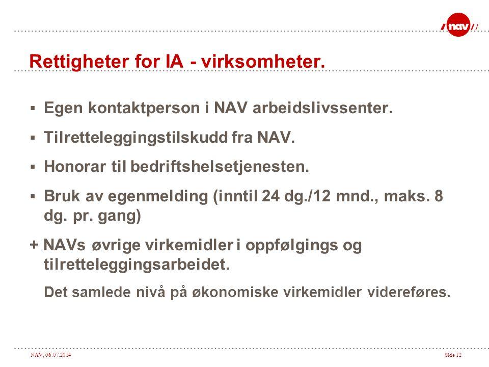 NAV, 06.07.2014Side 12 Rettigheter for IA - virksomheter.  Egen kontaktperson i NAV arbeidslivssenter.  Tilretteleggingstilskudd fra NAV.  Honorar