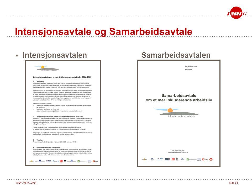 NAV, 06.07.2014Side 14 Intensjonsavtale og Samarbeidsavtale  Intensjonsavtalen Samarbeidsavtalen
