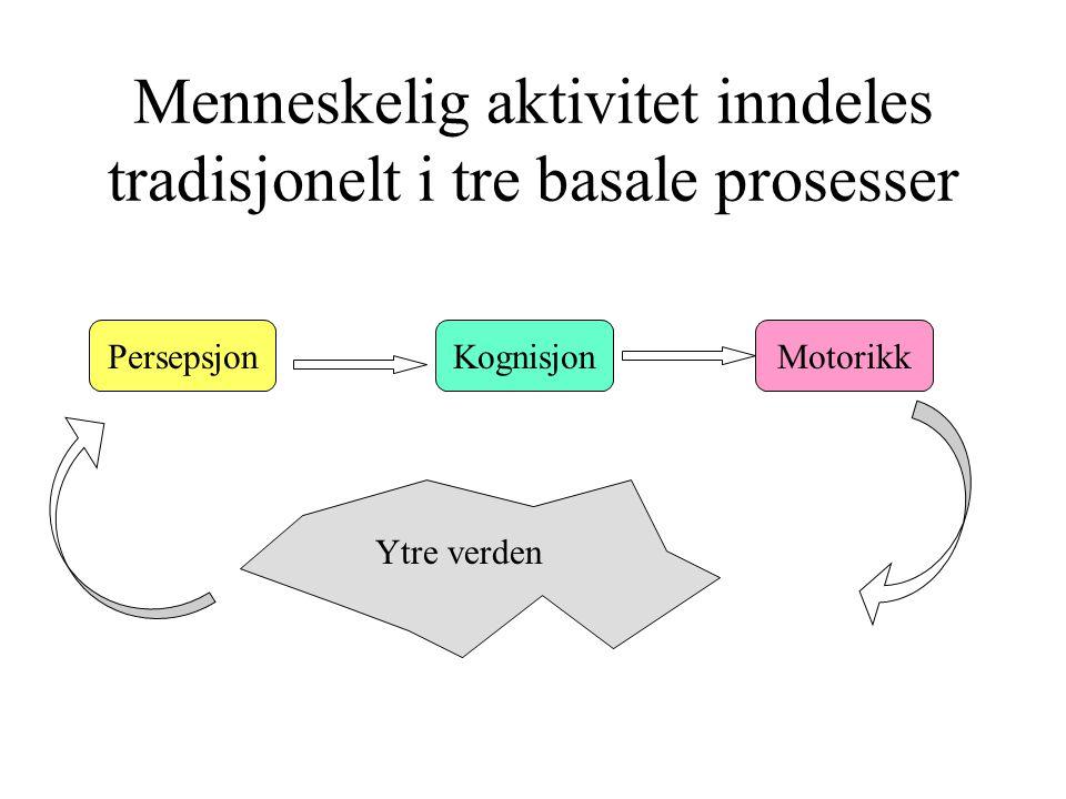 Menneskelig aktivitet inndeles tradisjonelt i tre basale prosesser PersepsjonKognisjonMotorikk Ytre verden
