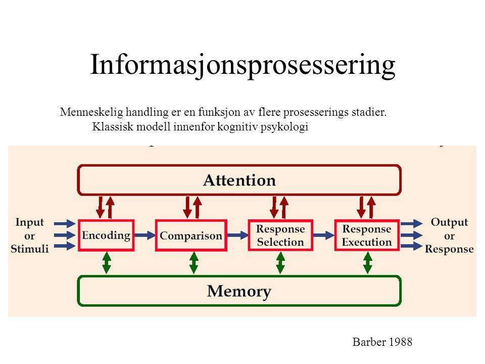 Informasjonsprosessering Barber 1988 Menneskelig handling er en funksjon av flere prosesserings stadier. Klassisk modell innenfor kognitiv psykologi