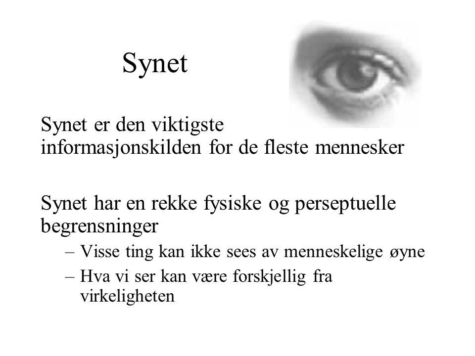 Synet Synet er den viktigste informasjonskilden for de fleste mennesker Synet har en rekke fysiske og perseptuelle begrensninger –Visse ting kan ikke sees av menneskelige øyne –Hva vi ser kan være forskjellig fra virkeligheten